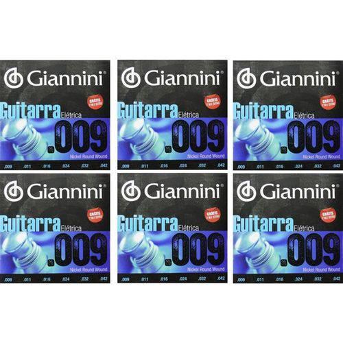 6 Encordoamento Guitarra Giannini 09 Geegst .9