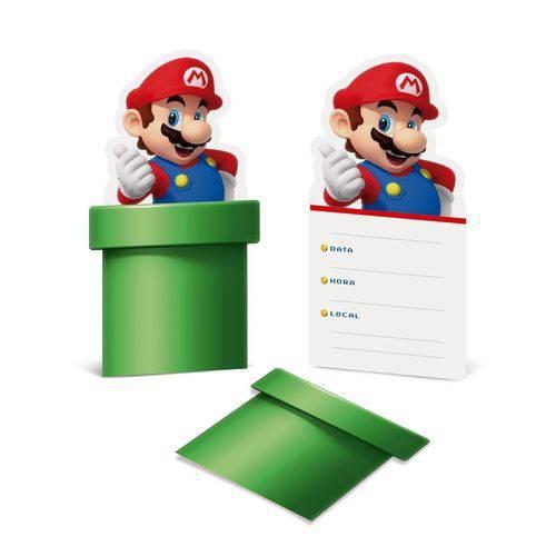 8 Convites Super Mario 10x21,8cm Decoração Festas