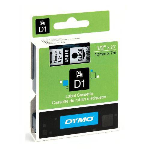 9469 Fita Poliester para Rotulador Eletronico Dymo 12mmx7m Mod D1 Preto com Transparente