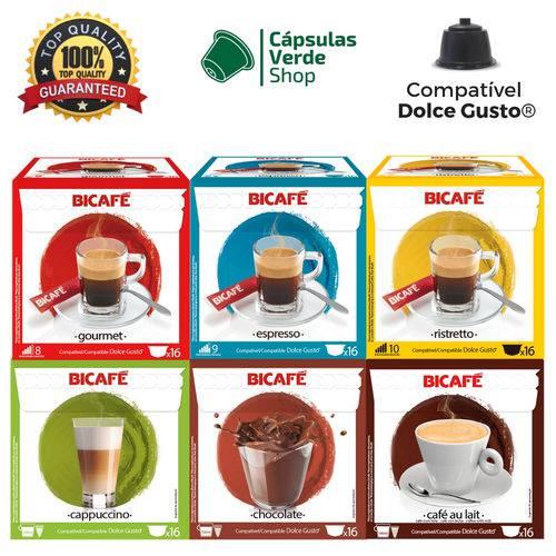 96 Cápsulas para Dolce Gusto Kit Degustação Café e Bebida - Bicafé