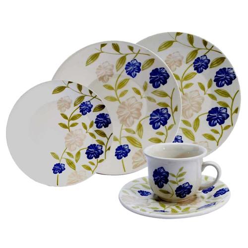 Aparelho de Jantar e Chá Redondo de Cerâmica com 20 Peças TB Azul Perfeito N613-1663 - Oxford