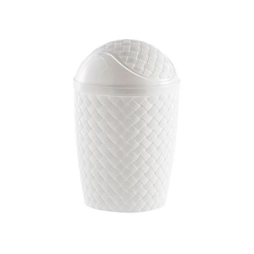 Lixeira Basculante 4.2 Litros Rattan 829 Branco-Paramount