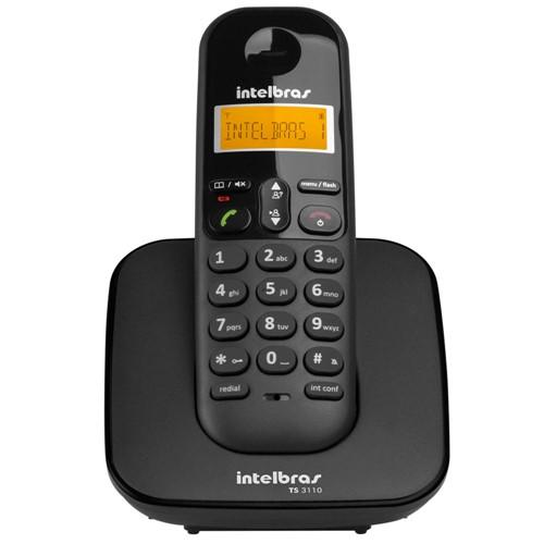 Telefone Sem Fio Dect 6.0 com Identificador de Chamadas Preto TS3110-Intelbras