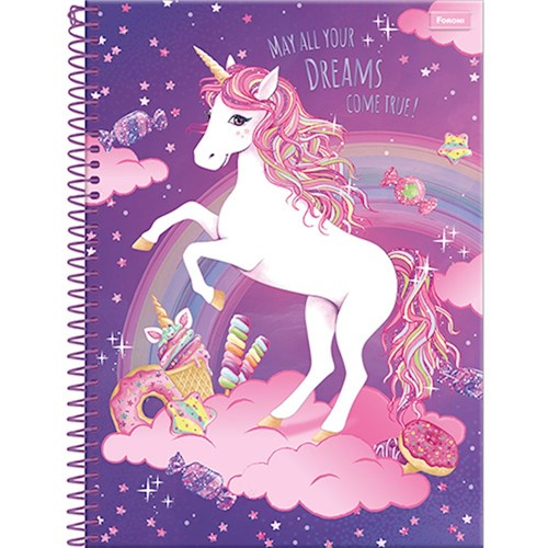 Caderno Espiral Universitário Unicórnio 10x1 200 Folhas 33.9491-2-Foroni