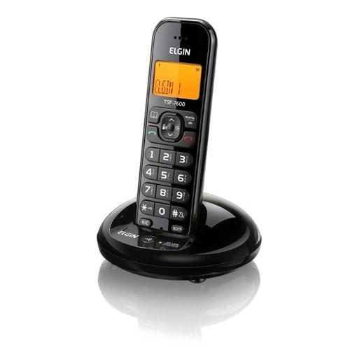 Telefone Sem Fio Dect 6.0 com ID/Viva Voz Preto TSF7600-Elgin