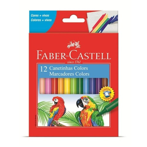 Canetinha Hidrocor 12 Cores Estojo Cartão 150112CZF-Faber Castell