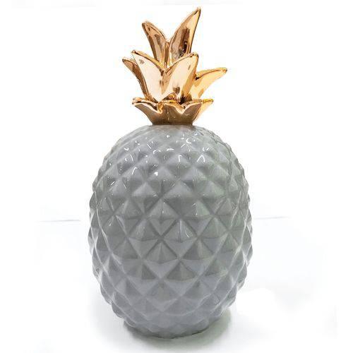 Abacaxi Decorativo Mesa Porcelana Cinza / Dourado 21cm Mart