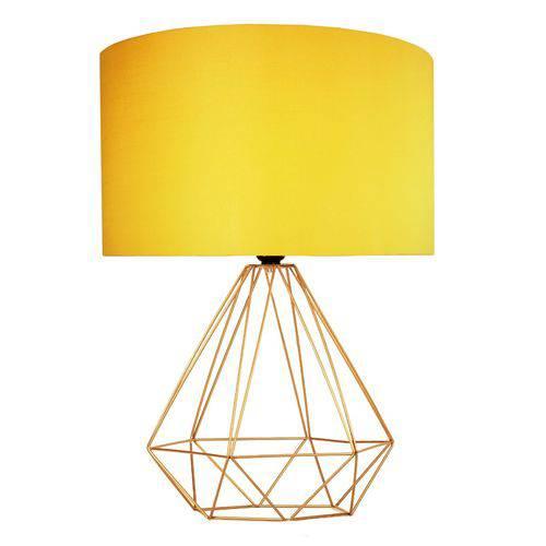 Abajur Aramado Cobre de Cupula de Tecido Amarelo de Mesa Tam: G 46x35cm