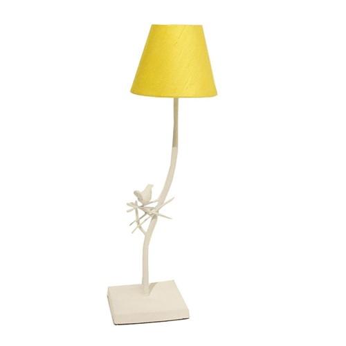 Abajur Branco Cúpula Amarela 53cm - Occa Moderna