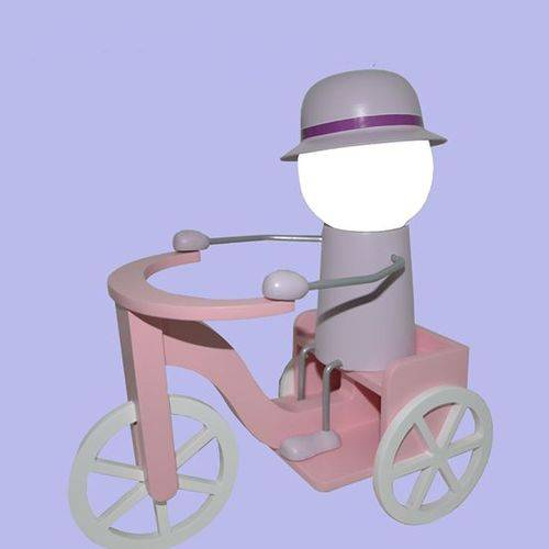 Abajur - Luminária Infantil LED - Triciclo Rosa