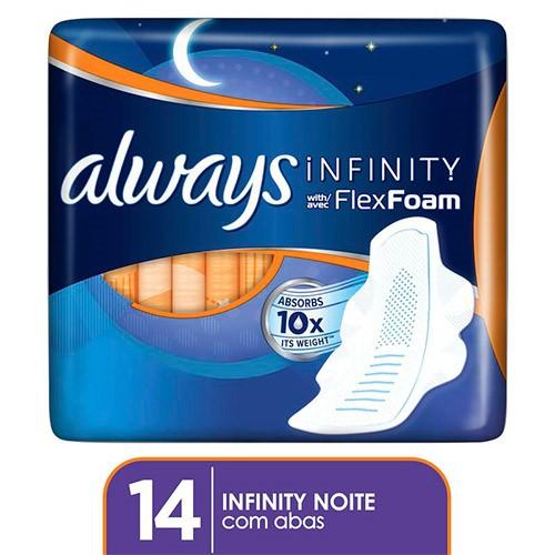 Absorvente Always Infinity Noturno com Abas 14 Unidades