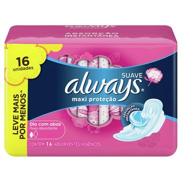 Absorvente Always Pink com Abas Suave Leve 16 Pague 14