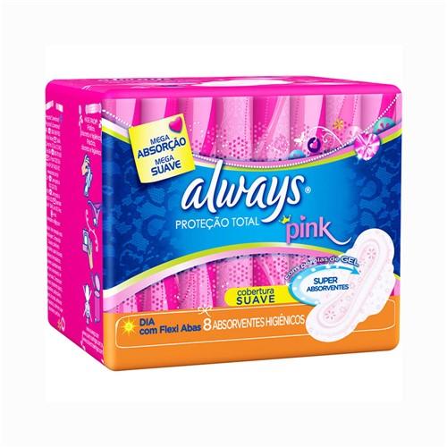 Absorvente Always Proteção Total Pink Suave C/ Abas C/8un
