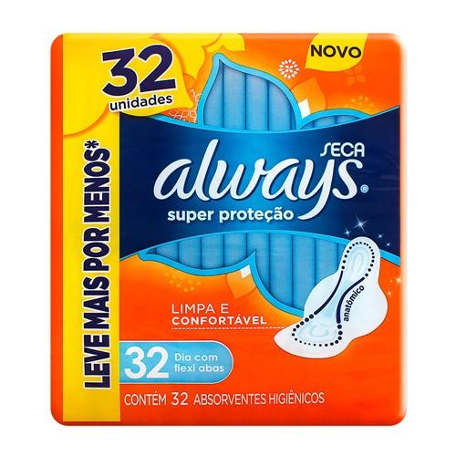 Absorvente Always Super Proteção Cobertura Seca com Abas 32 Unidades