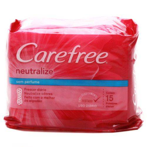 Absorvente Carefree Neutralize S/Perfume 15unid