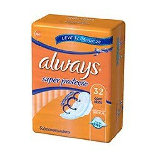 Absorvente Externo Always Básico Malha Seca C/ Abas Leve 32 Pague 28.