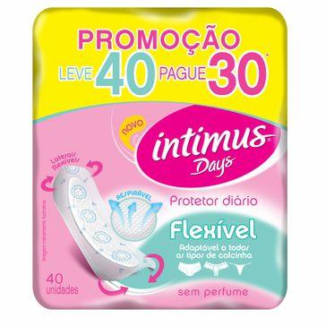 Absorvente Íntimus Days Protetor Diário Flexível Sem Aba Sem Perfume Leve 40 Pague 30
