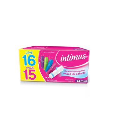 Absorvente Interno INTIMUS MINI Leve 16 Pague 15 - 16 Unidades