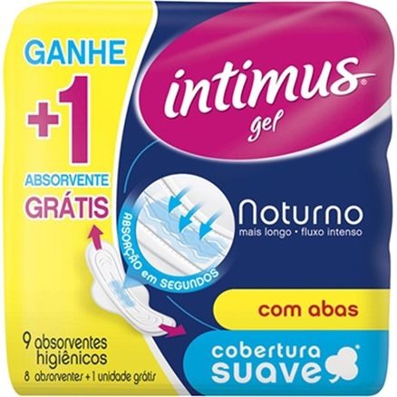 Absorvente Intimus Noturno com Abas Suave Leve 9 Pague 8