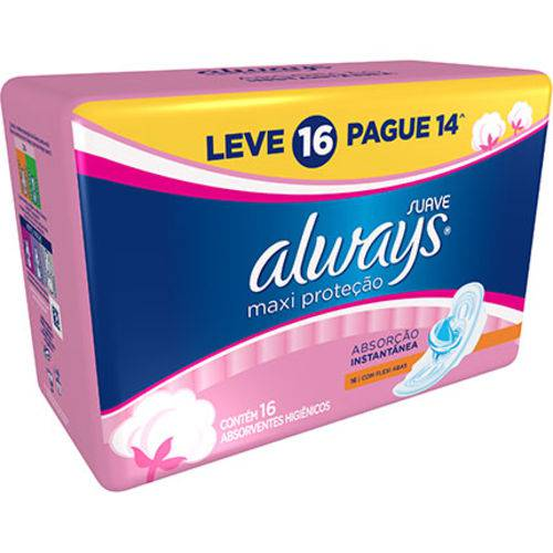 Absovente com Abas Always Maxi Total Pink Suave Leve 16 Unidades Pague 14 Unidades