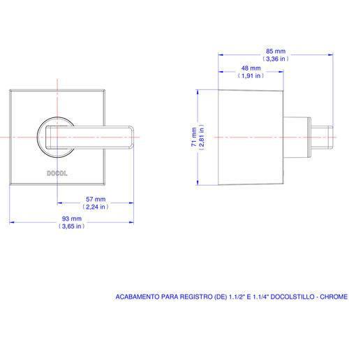 """Acabamento Docol para Registro Deca e Similares 1.1/2"""" e 1.1/4"""" Docol Cromado"""