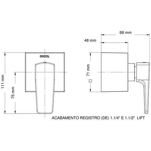 Acabamento Registro 1.1/2,1.1/4quot. Lift Cromado Reforma 00812006