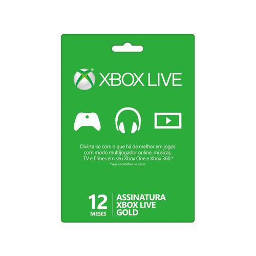 Acessório Microsoft XBox 360 Live 12 Meses Gold 52M-00473