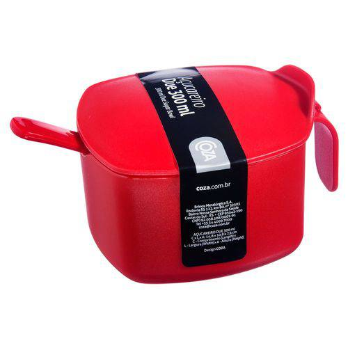 Açucareiro Due C/ Colher 300ml Vermelho - Coza