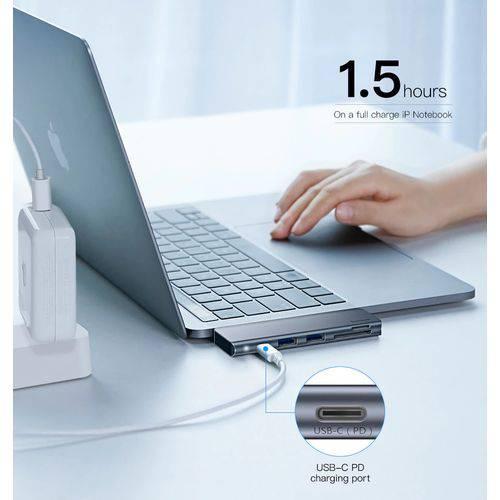 Adaptador Hub Usb-c Thunderbolt 3 Macbook Pro Air e Ultrabooks USB 3.0 SD CARD BASEUS