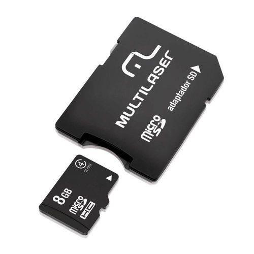 Adaptador Multilaser Sd + Cartao de Memoria Classe 4 8gb