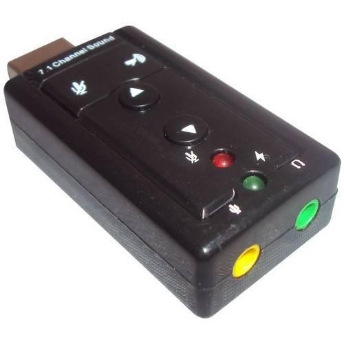 Adaptador Placa de Som USB 7.1 com Entrada P2 Fone Microfone - C