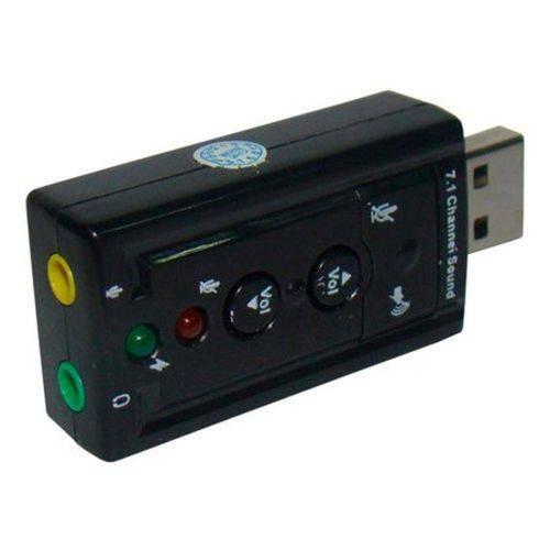 Adaptador Placa de Som Usb 7.1 com Entrada P2 Fone Microfone