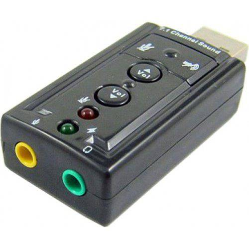 Adaptador Placa de Som Usb 7.1 Entrada P2 Fone e Microfone T64