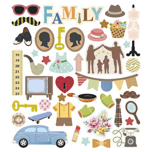 Adesivo Artesanal I Família com Glitter Ad1783 - Toke e Crie