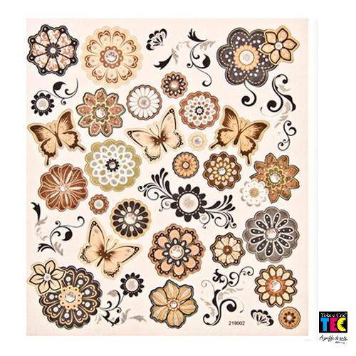 Adesivo Artesanal I Toke e Crie Flores e Borboletas - 11945 - Ad1327