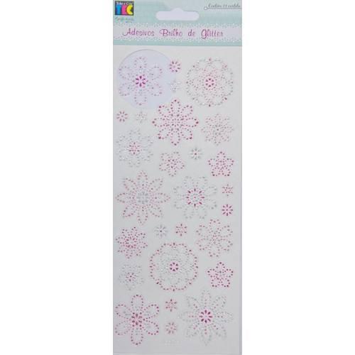 Adesivo Brilho de Glitter Flores AD1371 Toke e Crie