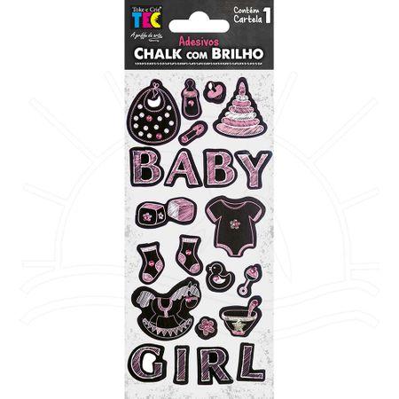 Adesivo Chalk com Brilho - Bebê Menina