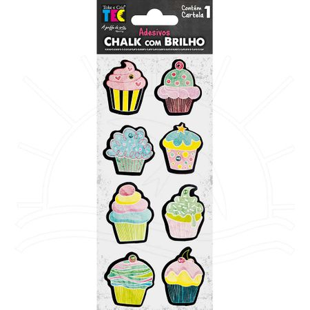 Adesivo Chalk com Brilho - Cupcakes