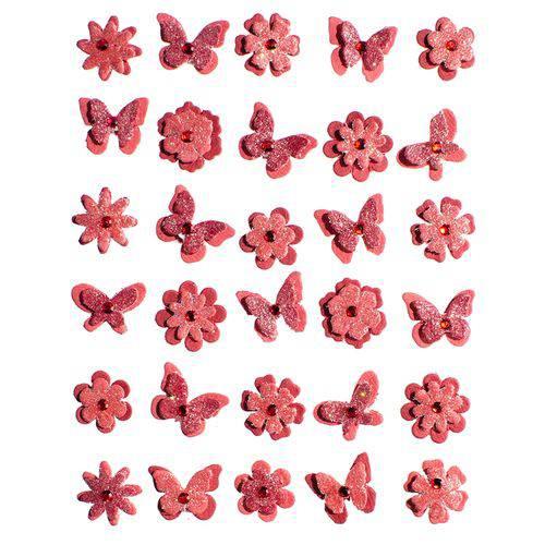 Adesivo Charme de Papel Flores e Borboletas Vermelho Algodão Doce Ad1736 - Toke e Crie