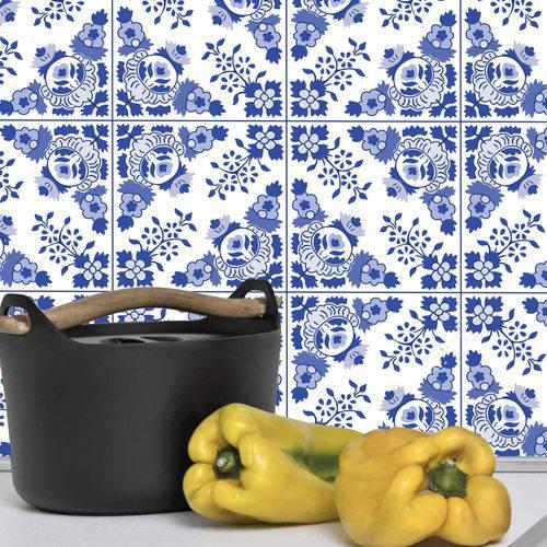 Adesivo de Azulejo Azul Alva 10x10 Cm com 50un