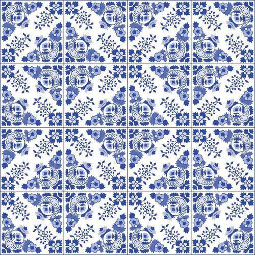 Adesivo de Azulejo Azul Alva 15x15 Cm com 36 Un
