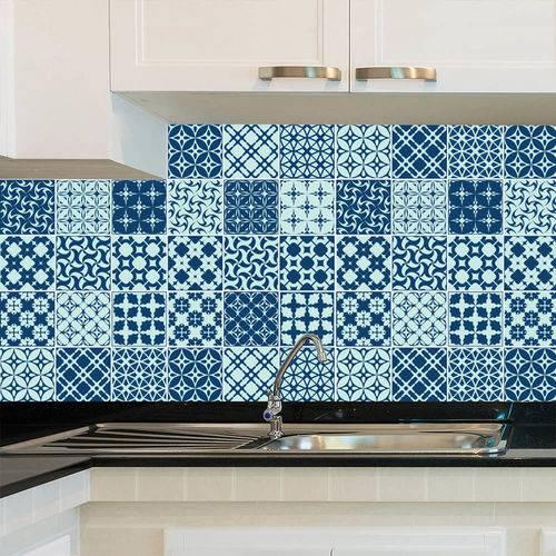 Adesivo de Azulejo - Ladrilho Hidráulico - X072Azme