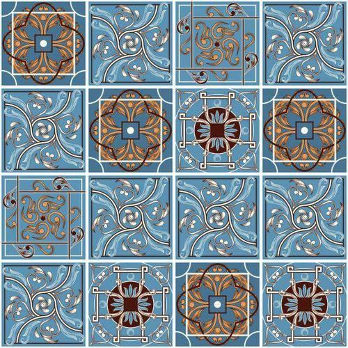 Adesivo de Azulejo Vitoriano Azul 15x15 Cm com 36 Un