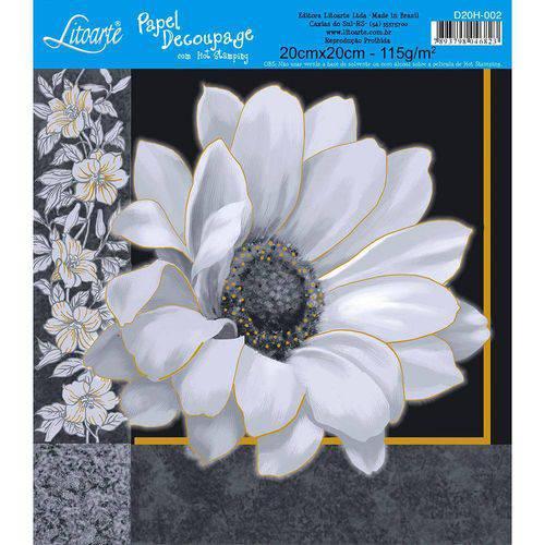 Adesivo de Papel para Decoupage com Hot Stamping Litoarte 20 X 20 Cm - Modelo D20h-002 Flor