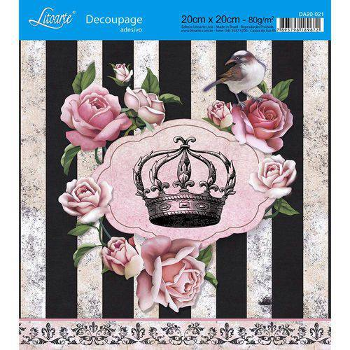 Adesivo de Papel para Decoupage Litoarte 20 X 20 Cm - Modelo Da20-021 Rosas com Flores