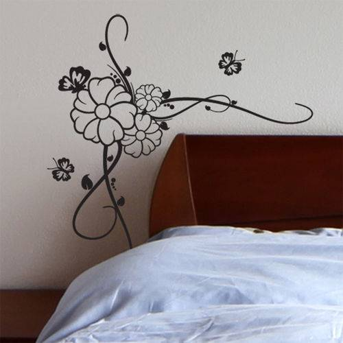 Adesivo de Parede - Arabesco Floral com Borboletas - N5017