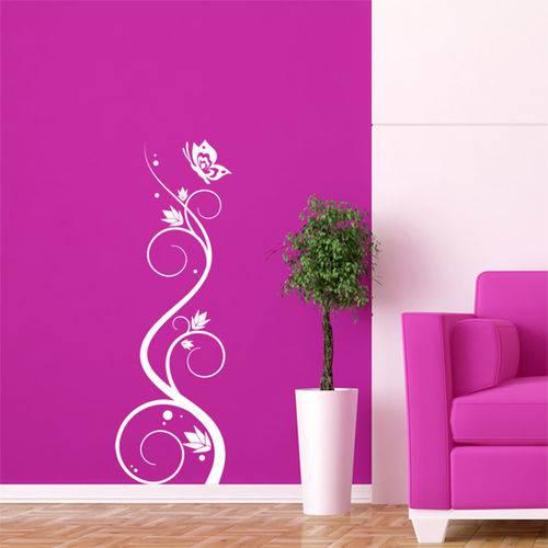 Adesivo de Parede - Arabesco Floral e Borboleta - N8003