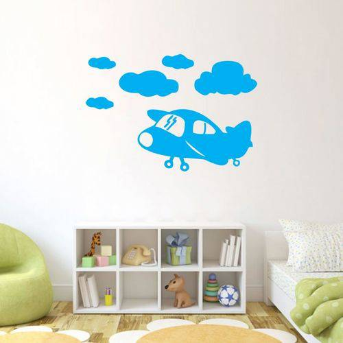 Adesivo de Parede Aviãozinho Nuvens Infantil Decorativo