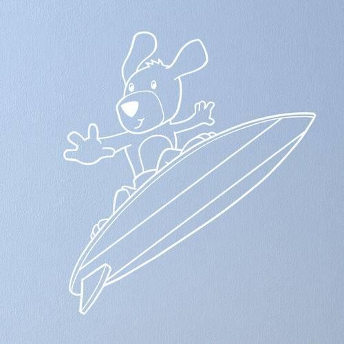 Adesivo de Parede - Cachorro Surfista - N8003