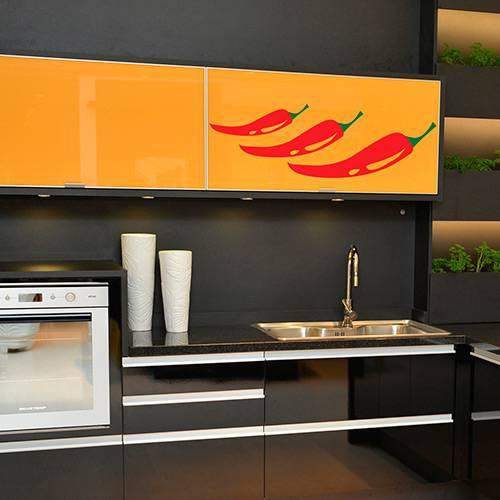 Adesivo de Parede Decorativo de Cozinha Stixx Pimentas Vermelho/Verde (29,7x91,2x1cm)